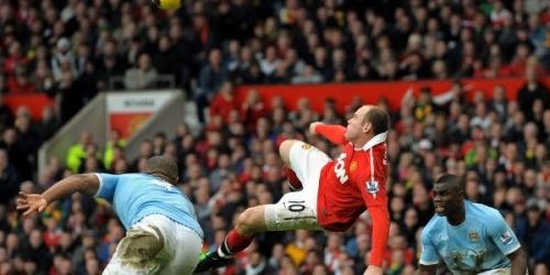 Manchester United gana 2-1 al City con chilena de Rooney