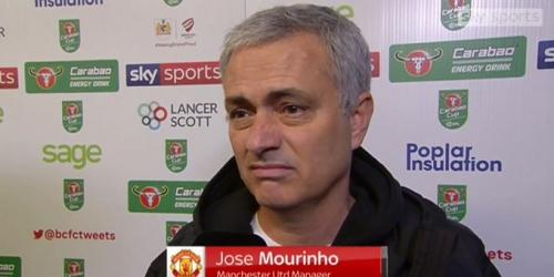 Mourinho: enojado ante la eliminación del United por Carabao Cup