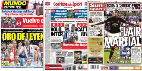 Portadas: Las victorias del Barça, Inter y Juve y el doblete de Martial destacan en los titulares