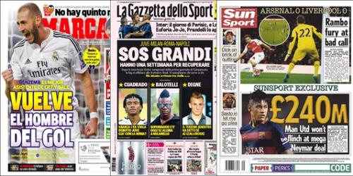 Portadas: Neymar, Cuadrado y CR7 en titulares de hoy