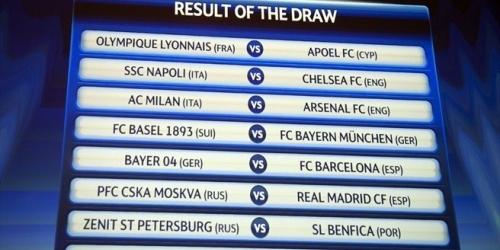 Se sortearon los octavos de Champions League
