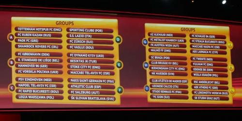 Sorteados los grupos de la Europa League
