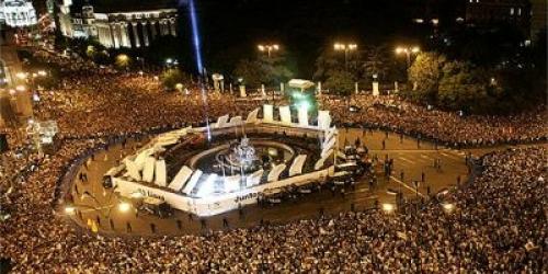 Todo dispuesto en Cibeles para el alirón del Real Madrid