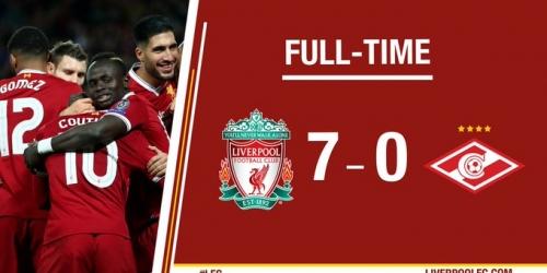 (VIDEO) Liverpool goleó 7-0 al Sparta Moscú