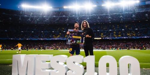 Homenaje a Messi por sus 100 goles en la Champions League