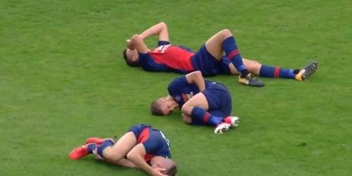 Tres jugadores del mismo equipo lesionados en la misma jugada