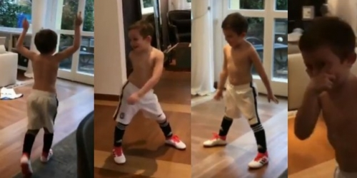 """(VIDEO) El hijo del """"Papu"""" Gomez: Futuro actor y futbolista"""